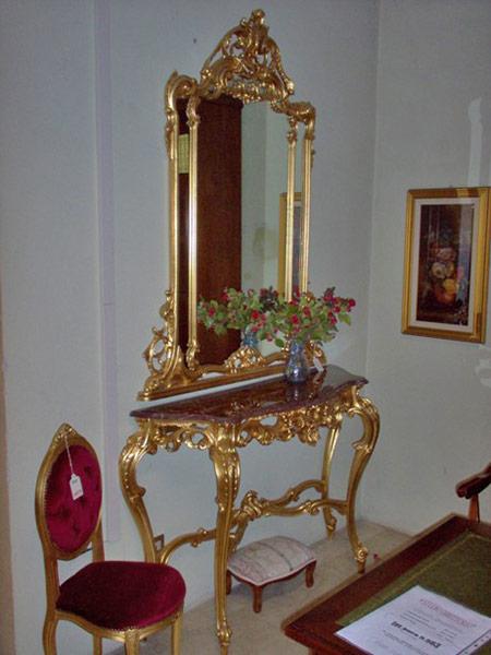 Specchiera E Consolle.Consolle Barocco Con Specchio E Marmo