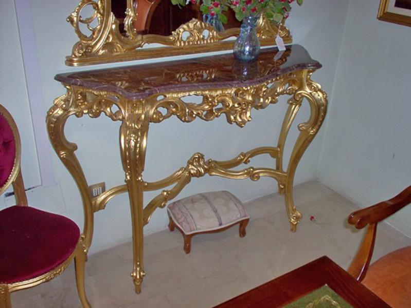 Consolle barocco con specchio e marmo